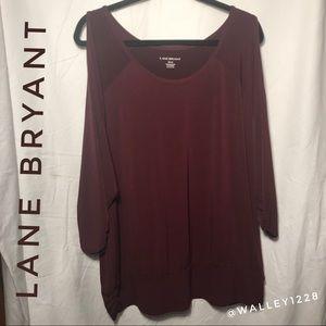 Lane Bryant wine colored cold shoulder blouse